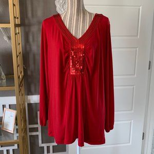 Covington Woman Red Long Sleeve Sequin V-Neck Top